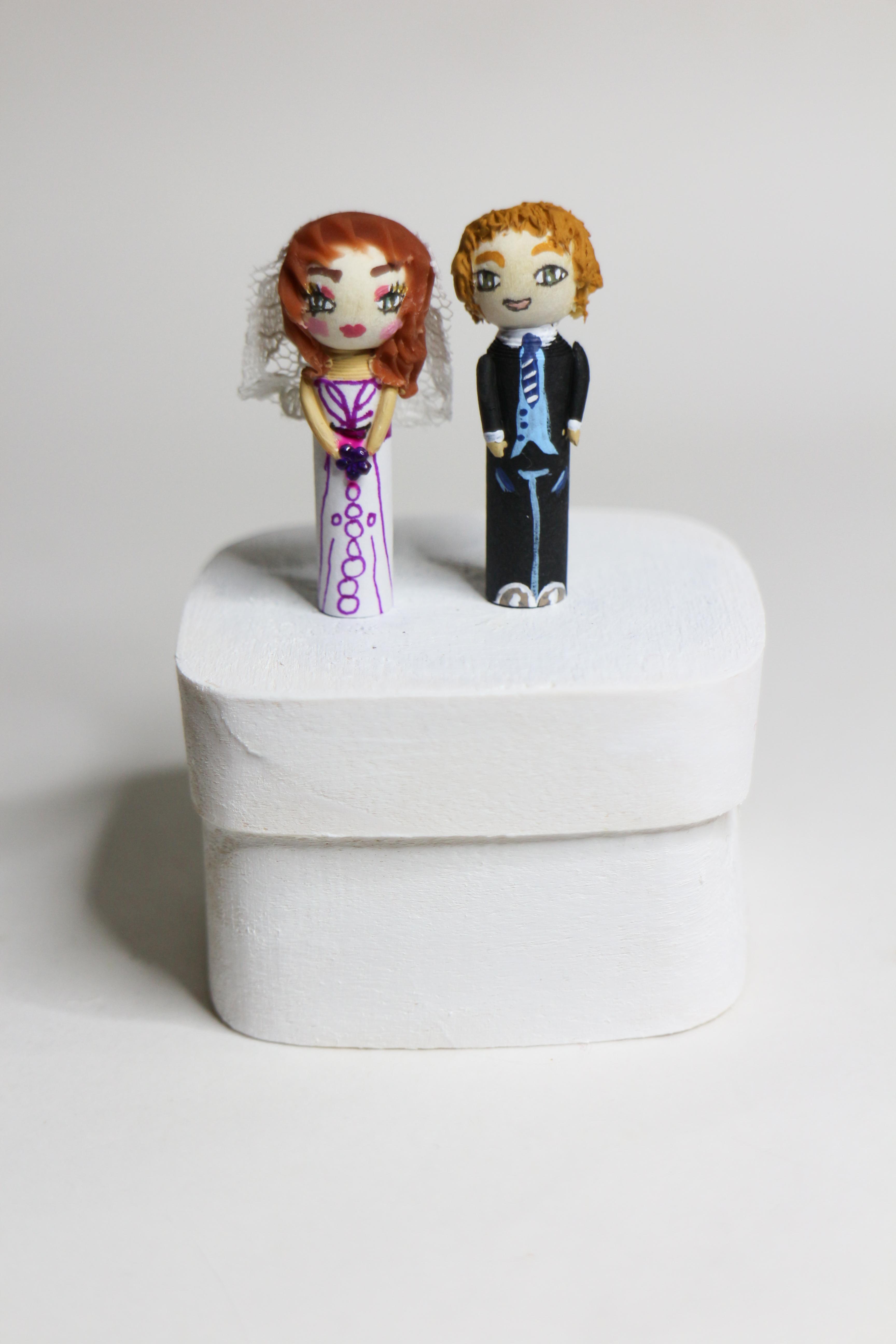 Figurines fantaisie personnages mariés cadeau d'invités