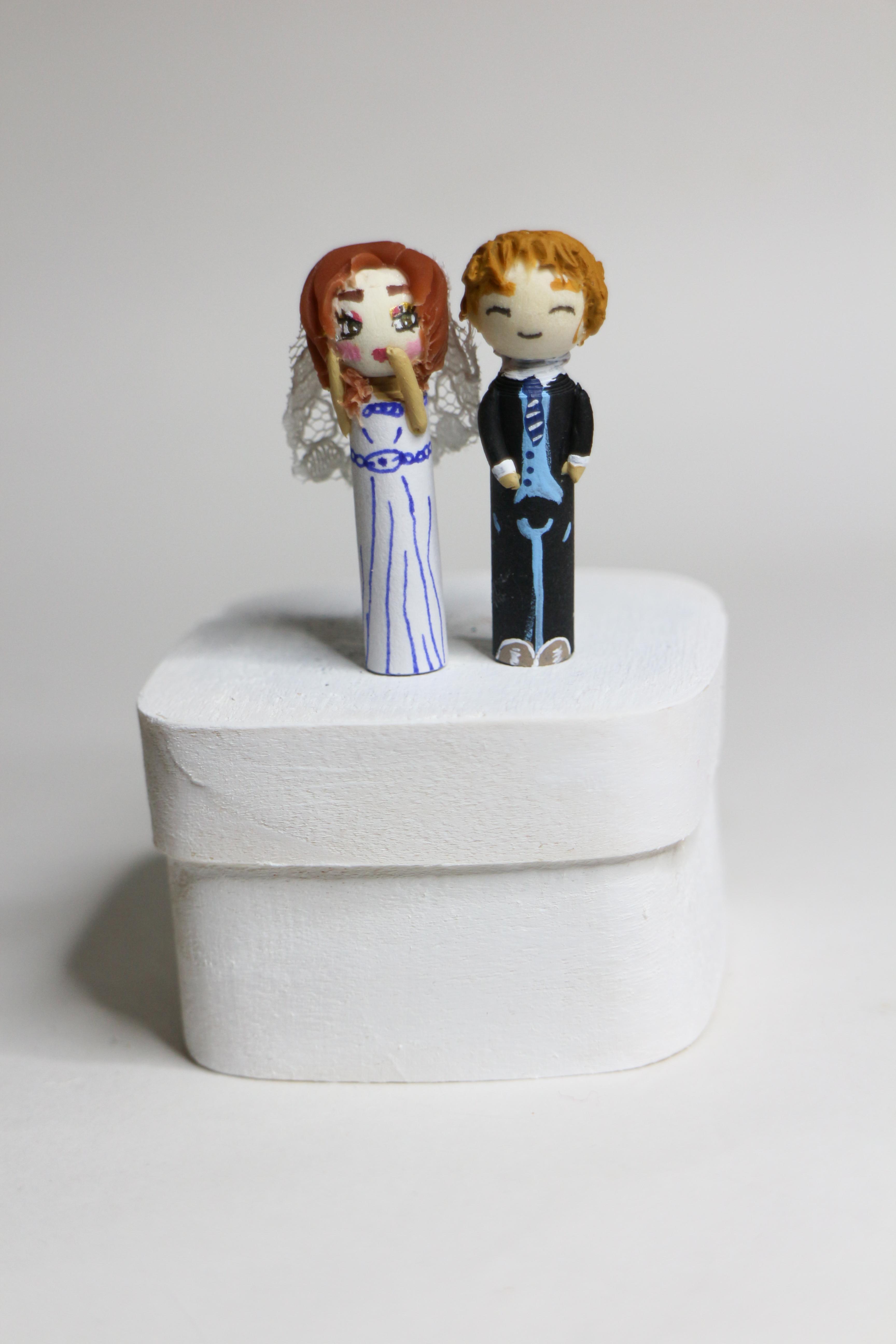 Figurines pegdolls fantaisie personnages mariés cadeau d'invités