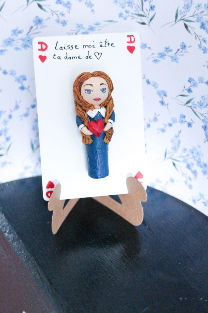 Portrait carte maîtresse dame de cœur déclaration d'amour